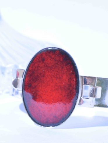 bracelet émail ovale rouge