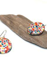 Boucles rondes émaux peints patchwork couleur. Pièce unique. Moissac