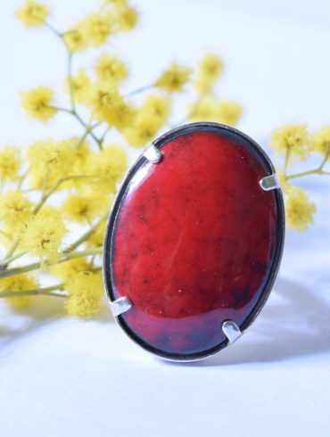 Bague émail ovale rouge