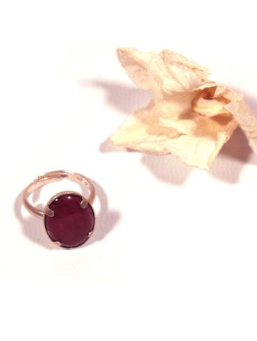 Bague petit ovale couleur prune
