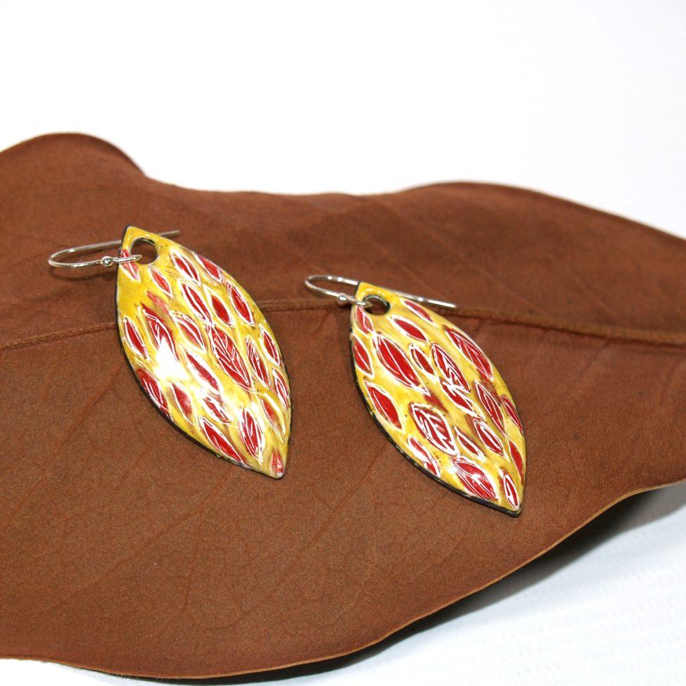 Boucles émaux peints feuilles Bijoux Au fil d'émaux