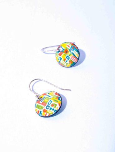 Boucles patchwork petits ronds colorés