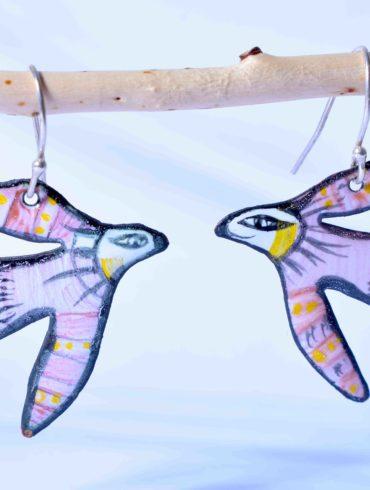 oiseaux peints Boucles d'oreilles