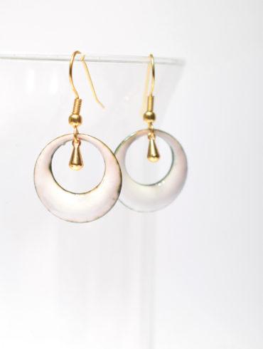 boucles petites créoles gouttes dorées-au fil d'émaux-de blanc et d'or-créations-émaux d'art-bijou-mariage-rt