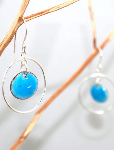 boucles anneau argent émail bleu turquoise