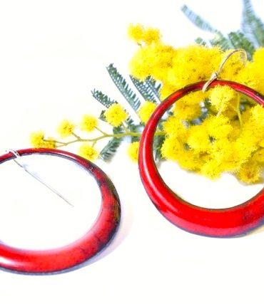 boucles créoles rouges