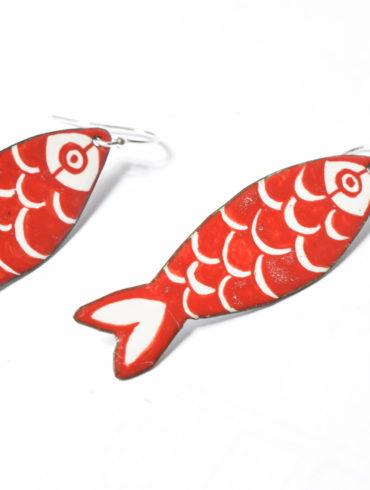 Sardines-rouge-boucles d'oreilles-souvenir-bijou-original-unique-coloré-peint-émaillé-main-artisanat français-créatrice-émailleuse d'art-Béatrice Perget-Moissac-mode
