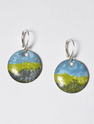 paysage-earrings- originales-boucles d'oreilles-uniques-dormeuses-argent-silver-handmade-enamel color-landscape-bleu-vert-au fil d'émaux-Moissac-France-créatrice française