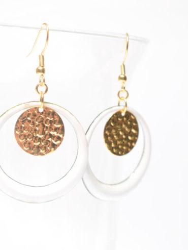 Boucles d'oreilles créoles-collection de blanc et d'or-au fil d'émaux-atelier-artisanat-B.Perget-Moissac