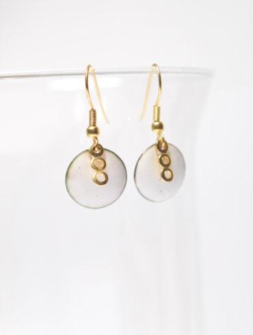 Boucles d'oreilles-petits ronds triodoré-collection de blanc et d'or-au fil d'émaux-Bijoux-émaux-émail-Moissac-82-Tarn et Garonne-artisanat. rtJPG