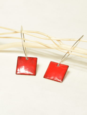 Boucles petits carrés rouge-emaux-contemporain-bijou-createur-argent-unique-hand-made