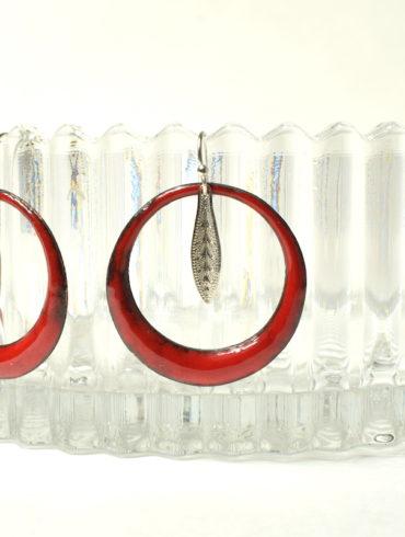 Boucles créoles en émail rouge et feuilles