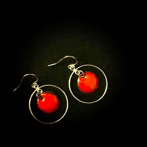 boucles d'oreilles rouges créoles argent