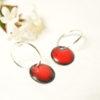 Boucles d'oreilles créoles petits anneaux argent et ronds rouges