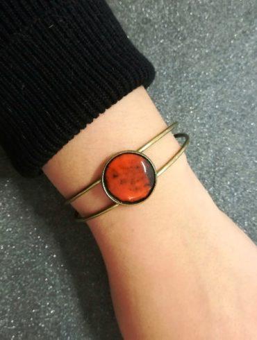 bracelet émail orange noiré monture bronze réglable