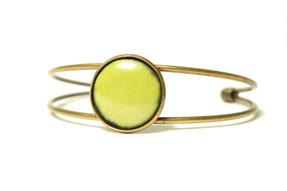 Bracelet vert clair et bronze réglable