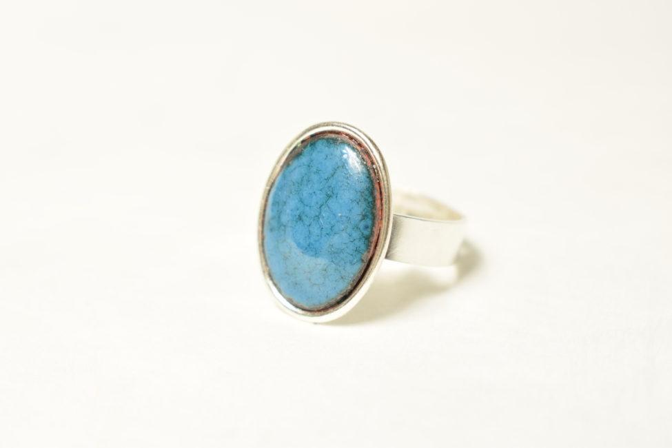 Bague petit ovale bleu bondi et argent