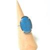 Bague grand ovale bleu bondi et argent