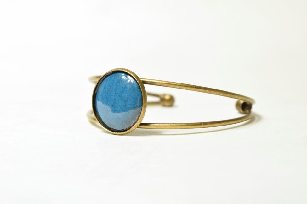 Bracelet réglable bleu bondi et bronze
