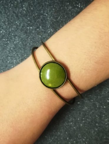 bracelet bonze émail vert olive