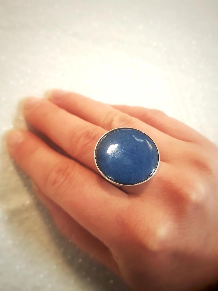 Bague ronde sertie bleu bondi et argent