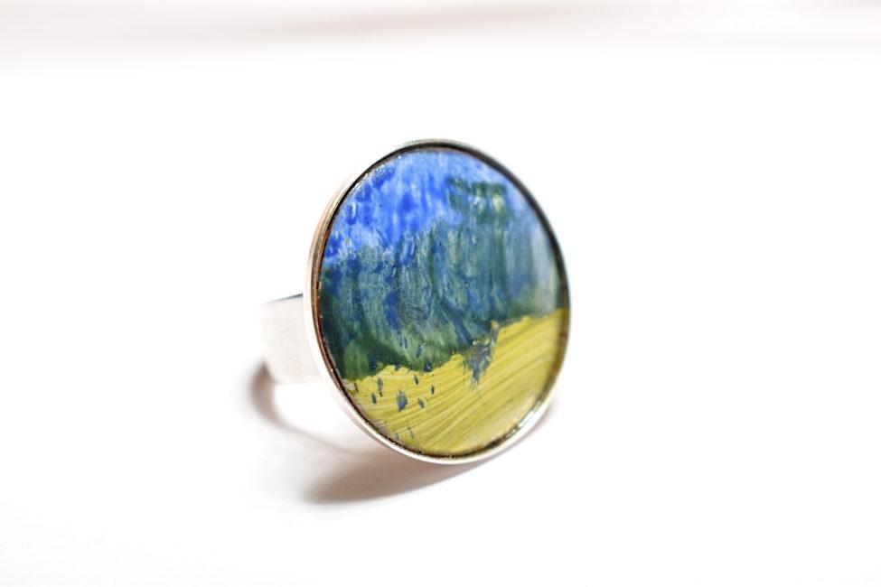 Bague paysage bleu-vert et monture en argent réglable