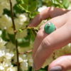 Bague pampille en émail de couleur vert trèfle et perle argent