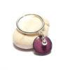 Bague pampille en émail de couleur pourpre et perle argent