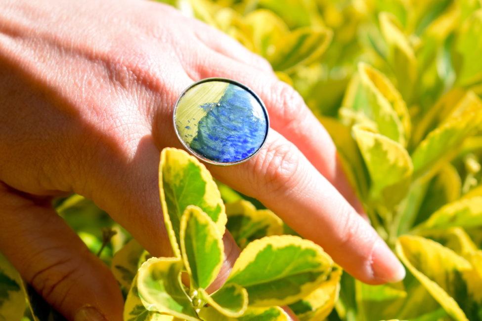Bague paysage bleu-vert