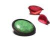 Broche ronde sertie en émail vert foncé