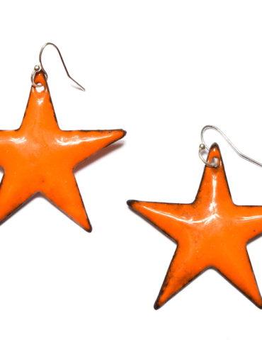 Boucles d'oreilles grands étoiles oranges émaillées