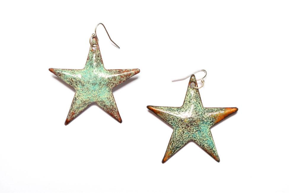 boucles d'oreilles grandes étoiles vert d'eau en émail