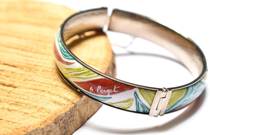 Bracelet motifs nature en émaux