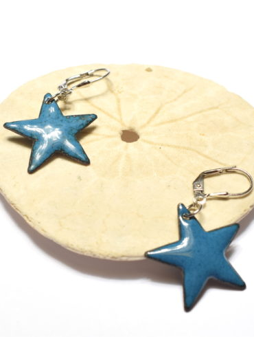 boucles d'oreilles petites étoiles bleu bondi et dormeuses argent