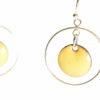 Boucles d'oreilles petits ronds émaillés jaune et créoles mobiles en argent
