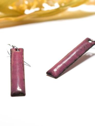 Boucles d'oreilles rectangulaires en émail, de couleur pourpre