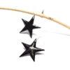 Paire de boucles d'oreilles forme grandes étoiles noires en émaux d'art