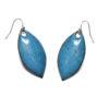 boucles d'oreilles feuilles émaillées de couleur bleu bondi